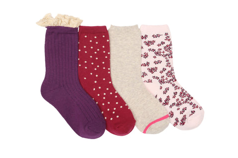 Stride Rite girls 4pk crew socks- meadow macy