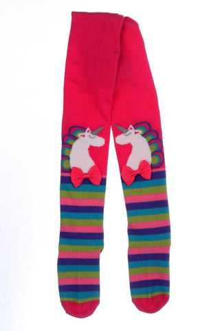 Toes & Bows striped unicorn tights