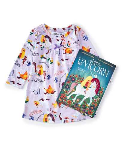 "Books to Bed Uni the Unicorn Nightgown & Book. Light purple night gown with ""Uni the Unicorn"" design and includes the ""Uni the Unicorn"" book."