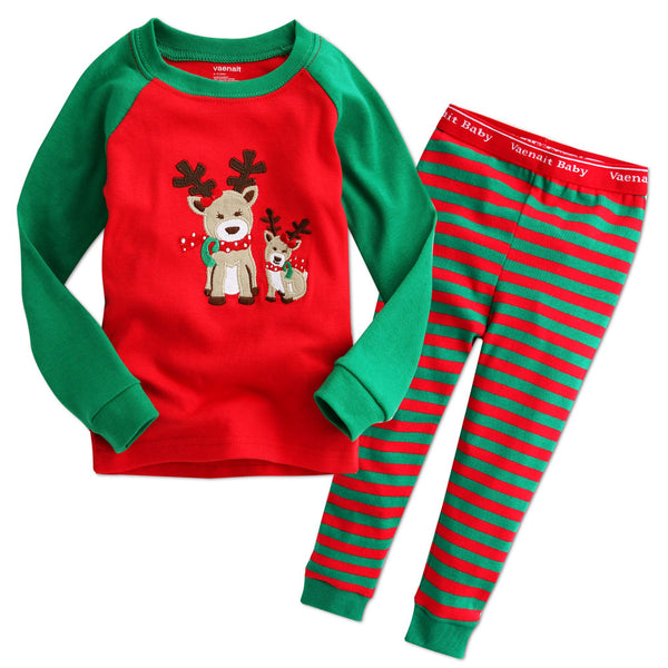 Vaenait long sleeve reindeer pajamas- red & green stripe
