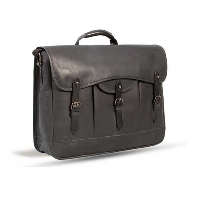 UBERBAG GOBI GRAPHITE GREY/ BLACK LEATHER MESSENGER BAG