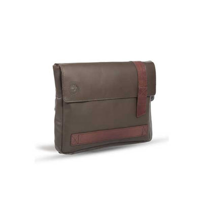 UBERBAG DARK BROWN LEATHER MILITARY MEN CLUTCH