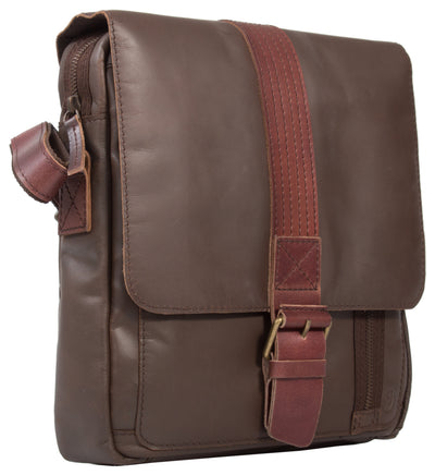 UBERBAG DARK BROWN LEATHER MILITARY SMALL N/S MESSENGER / MAN BAG