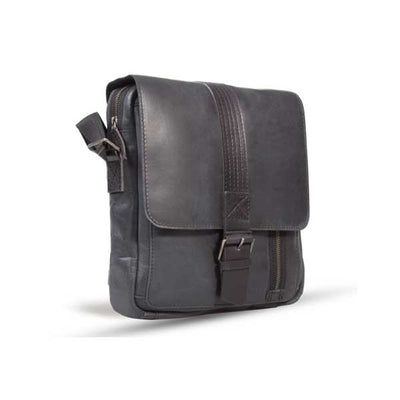 UBERBAG GREY BLACK LEATHER MILITARY SMALL N/S MESSENGER / MAN BAG