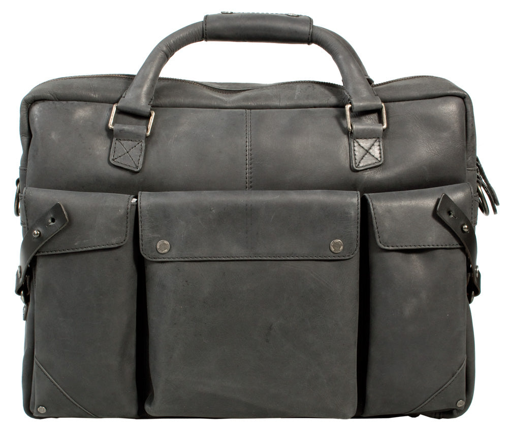 UBERBAG INSIGNIA GRAPHITE GREY/ BLACK LEATHER PORTFOLIO / MESSENGER BAG