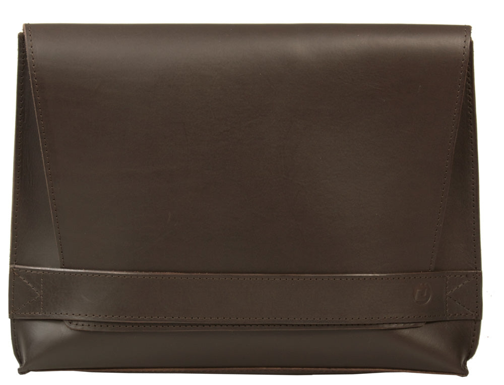 UBERBAG SIGNATURE MEN'S BROWN VEGETABLE TANNED LEATHER CLUTCH