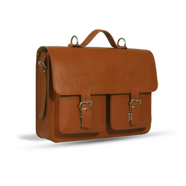 WINDSOR NATURAL VEGETABLE TANNED TAN LEATHER SATCHEL / BACKPACK