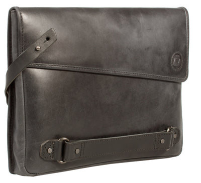 UBERBAG INSIGNIA MEN'S GRAPHITE GREY/ BLACK LEATHER CLUTCH