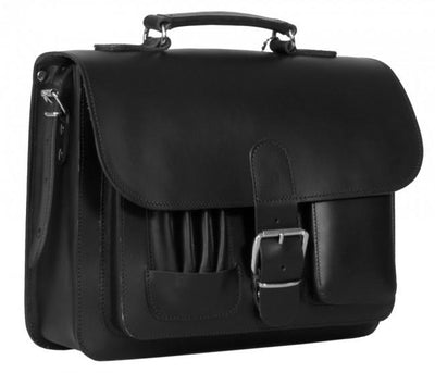MAYFAIR VEGETABLE TANNED BLACK LEATHER SMALL SATCHEL / BACKPACK