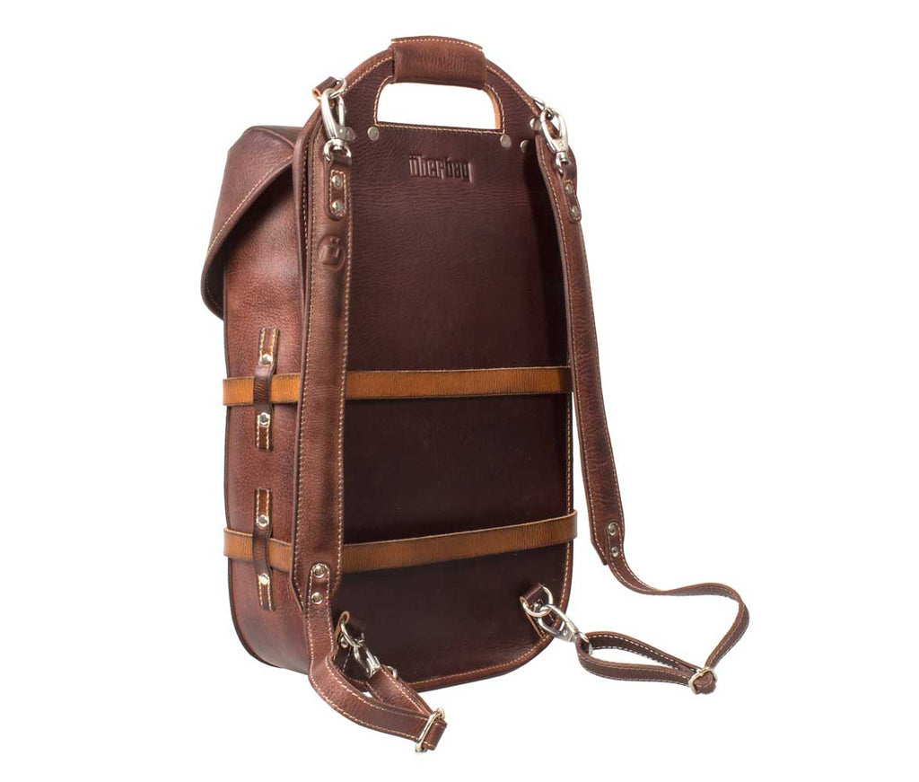 UBERBAG VINTAGE SWISS ARMY BROWN LEATHER BACKPACK