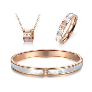 Zana Classic Titanium Steel White Shell Necklace Rings Bangles Bridal Sets - Zana Collection