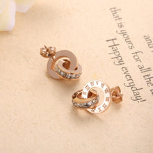 Load image into Gallery viewer, New Shiny Cubic Zirconia Roman Numerals Double Circle Stud Earrings - Zana Collection