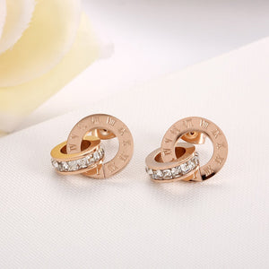 New Shiny Cubic Zirconia Roman Numerals Double Circle Stud Earrings - Zana Collection