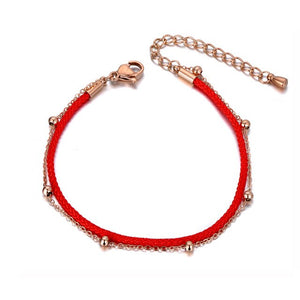 Trendy Double Layer Stainless Steel Red Rope Good Lucky Bracelets - Zana Collection