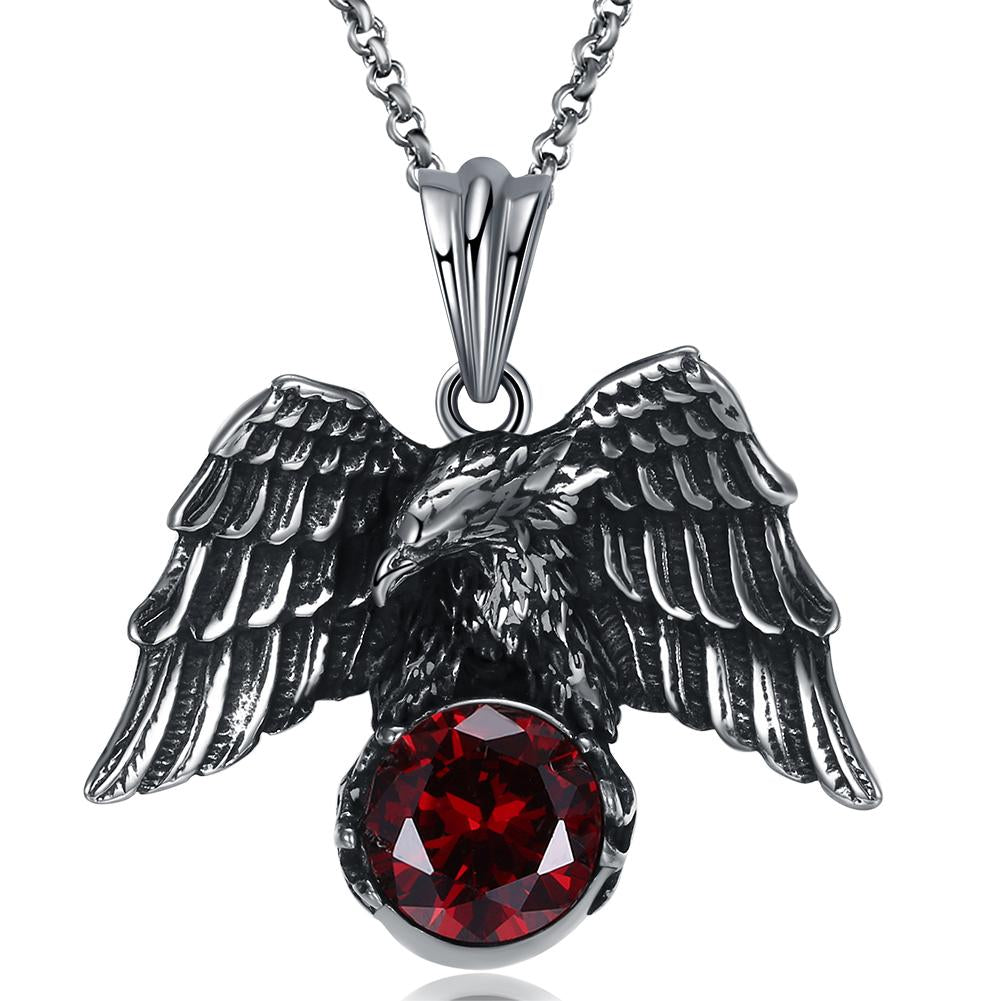 Father's Day Gift Stainless Steel Red Crystal Hawk Men's Pendant