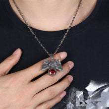 Load image into Gallery viewer, Father's Day Gift Stainless Steel Red Crystal Hawk Men's Pendant