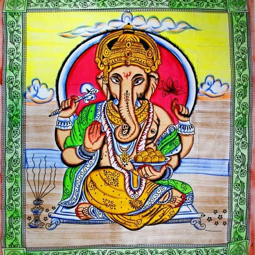 Ganesha Holding Lotus Flower In Pastels With Tassels Tapestry with