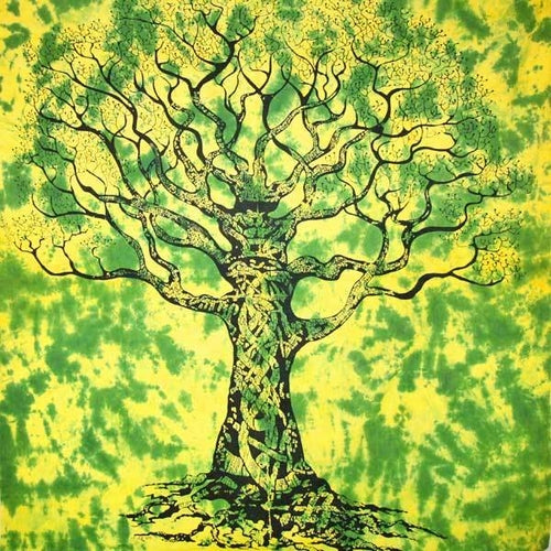 Green Celtic Knot Tree Of Life Tie Dye Tapestry