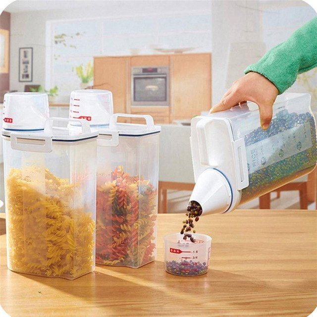 Large Capacity 2L Plastic Cereal Dispenser Storage