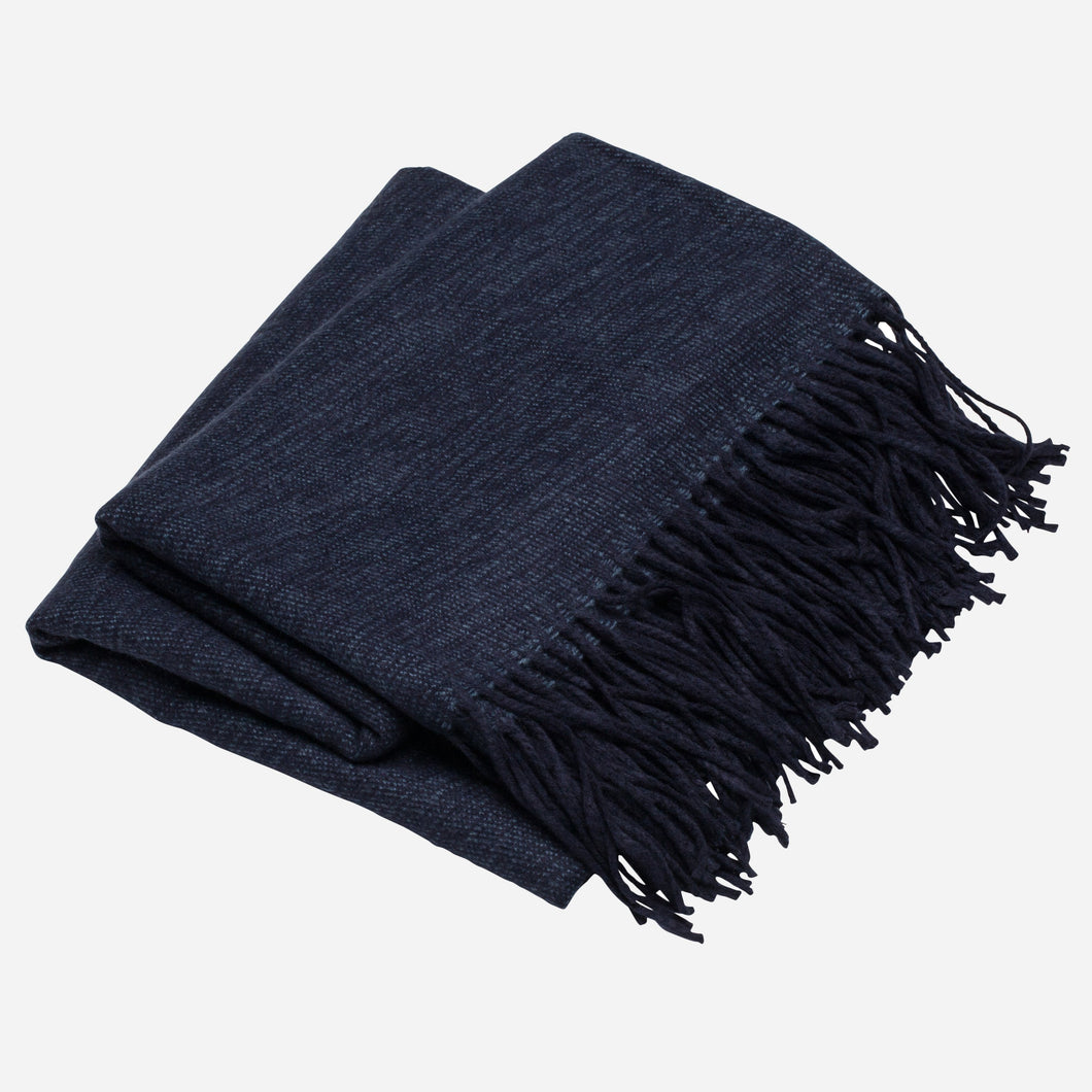 Solid Woven Throw, Dark Blue