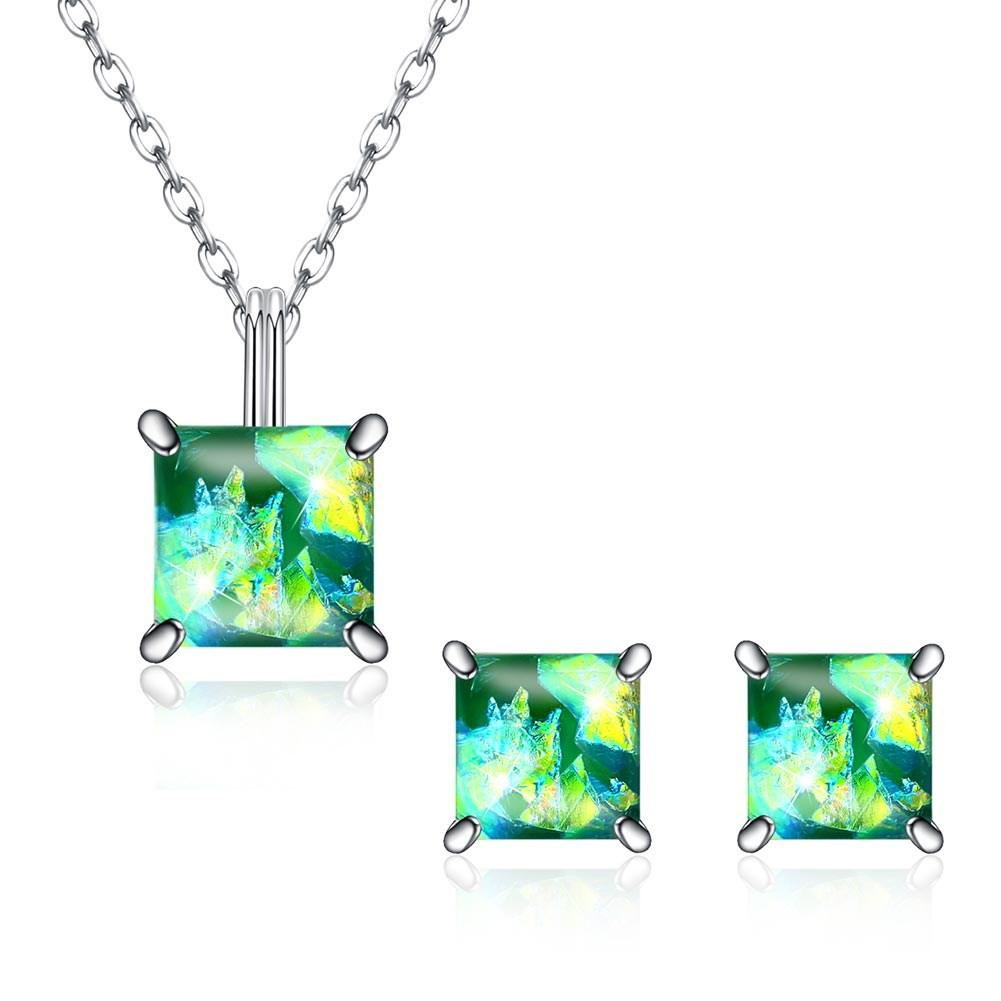 1.50 CT Opal Created Sterling Silver Necklace and Earring Set