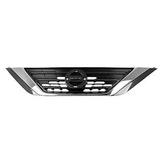 NISSAN ALTIMA SEDAN 16-18 FRONT UPPER GRILLE SILVER GRAY WITH CHROME MOLDING
