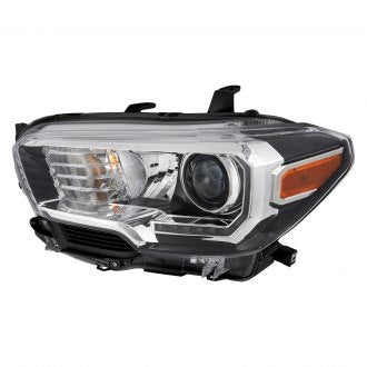 TOYOTA TACOMA PICKUP 16-19 AWD/RWD DRIVER SIDE HEADLIGHT HALOGEN WITH LED DRL/FOG LAMP BLACK BEZEL HQ
