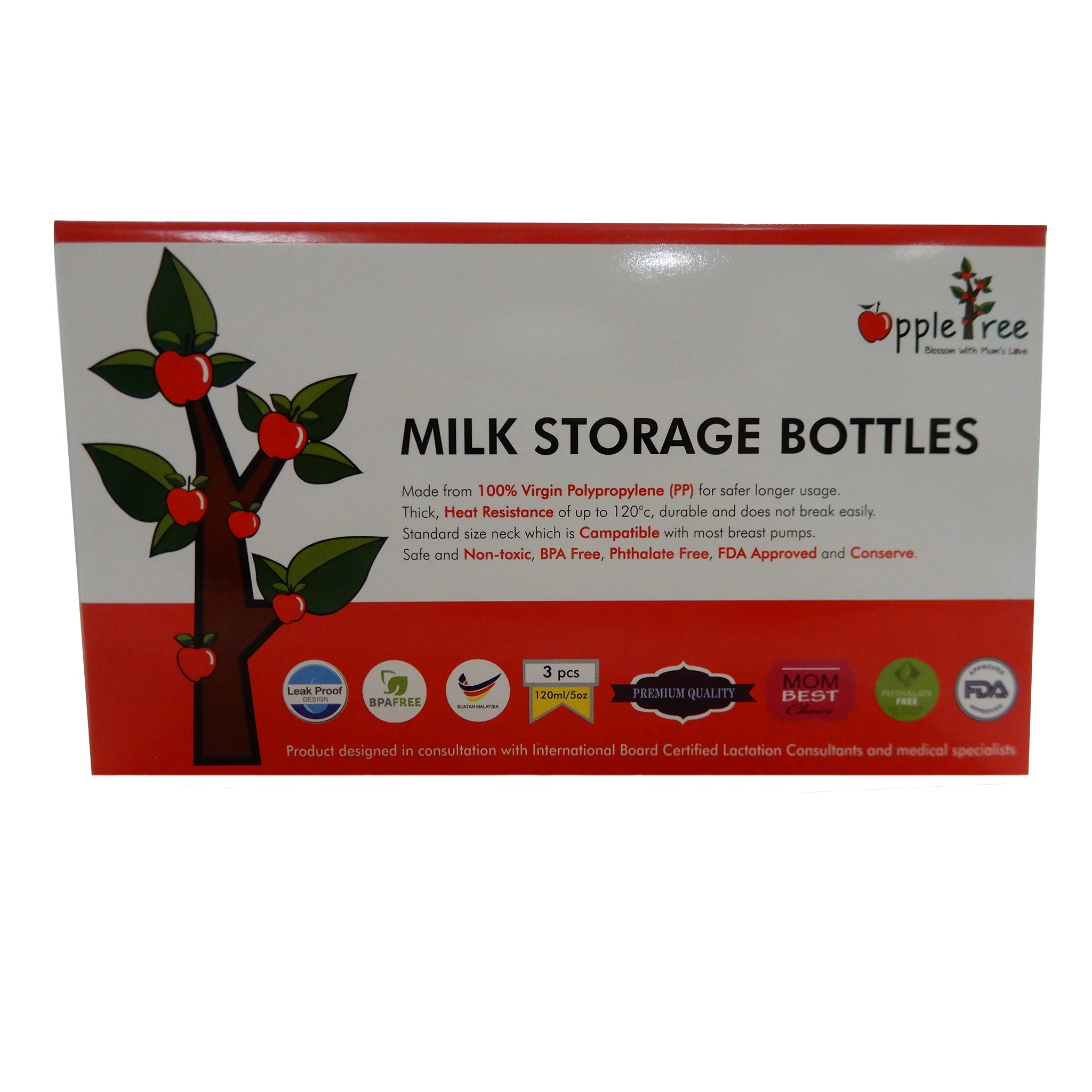 Apple Tree Breastmilk Storage Bottles 3s