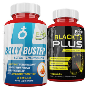 Belly Buster For Men & Black T5 Plus Combo - 120 Capsules