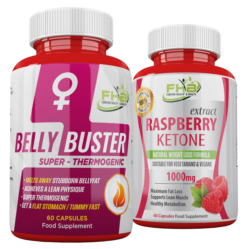 Belly Buster For Women & Raspberry Ketone Combo - 120 Capsules