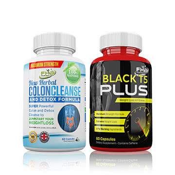 Black T5 Plus & Colon Cleanse Combo - Weight Loss & Detox Combo - 120 Capsules