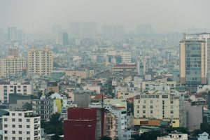 view of the city saigon from above on a gloomy day