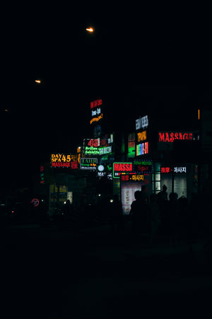 neon signs glowing at night in vietnam