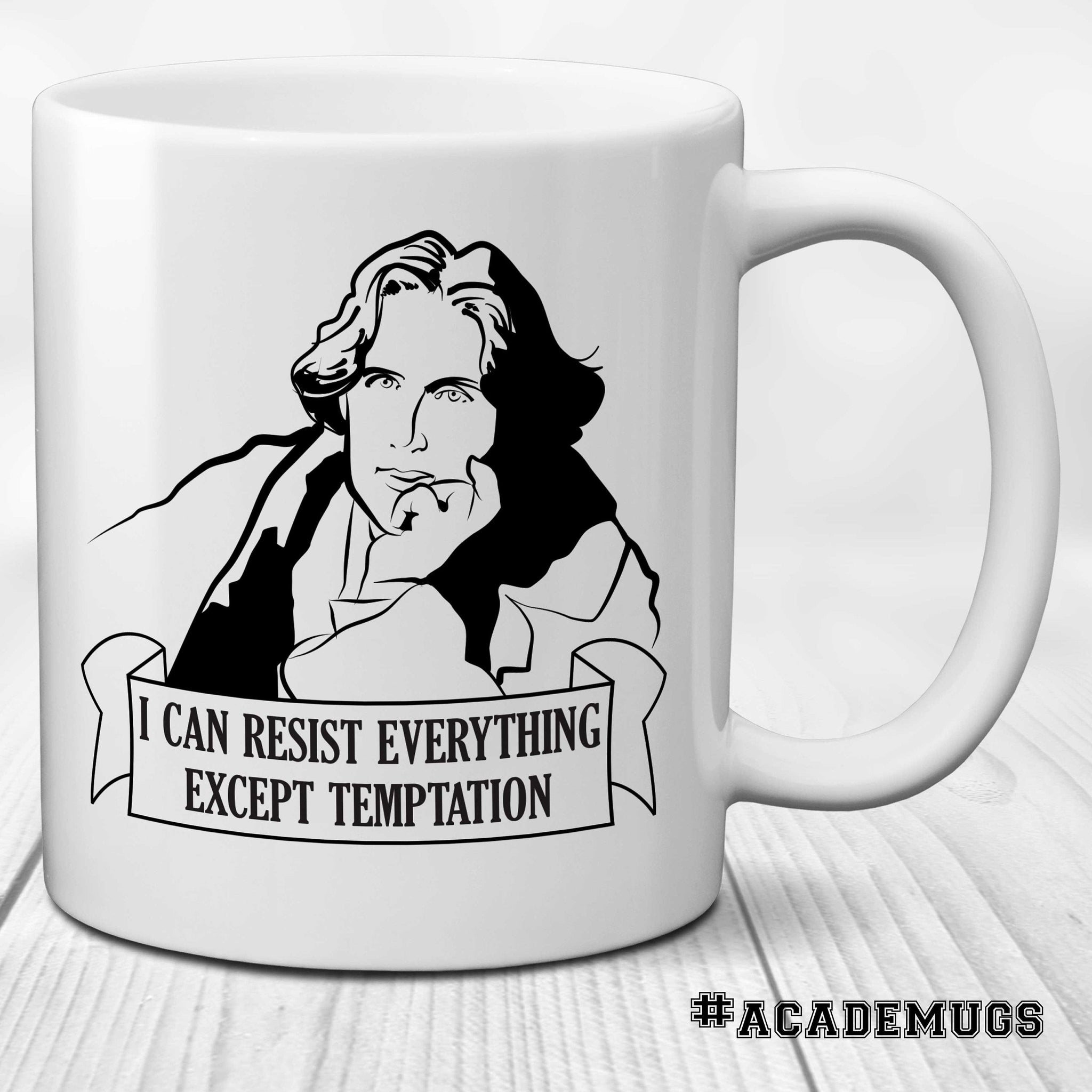 Oscar Wilde Mug: I can resist everything except temptation