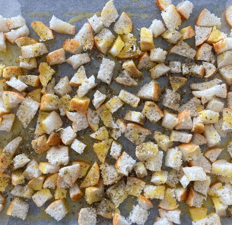 Herbs and butter for croutons