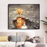 Affiche Chat et Lion
