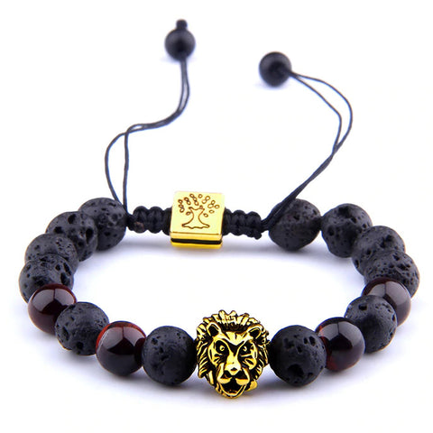 Bracelet Lion Pierre Lave Or