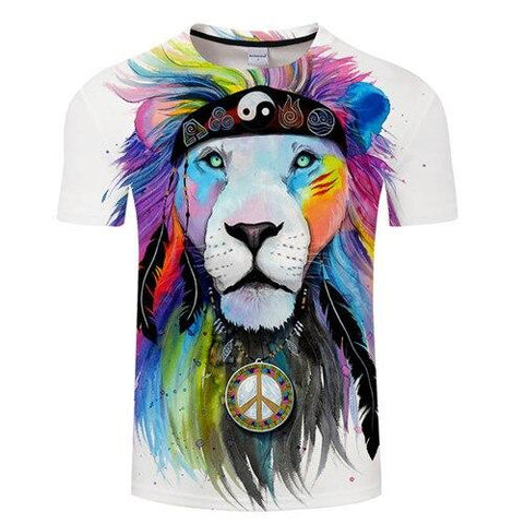 hippie lion t shirt