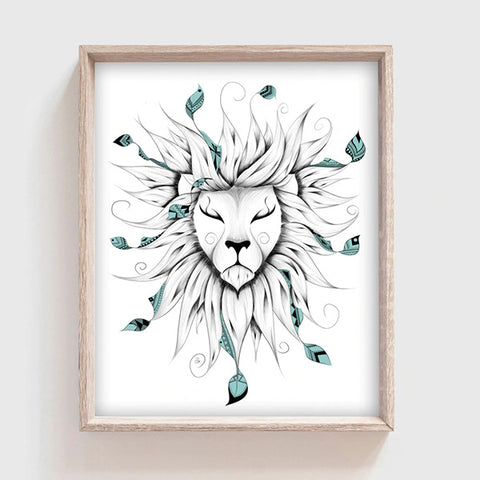 Poster Lion Feuille