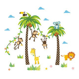 Sticker Girafe Lion Singe