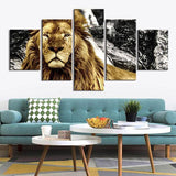Tableau 5 Pieces Lion
