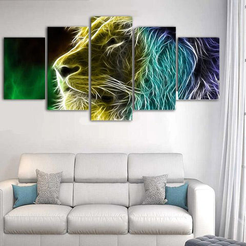 Tableau Tete De Lion Colore