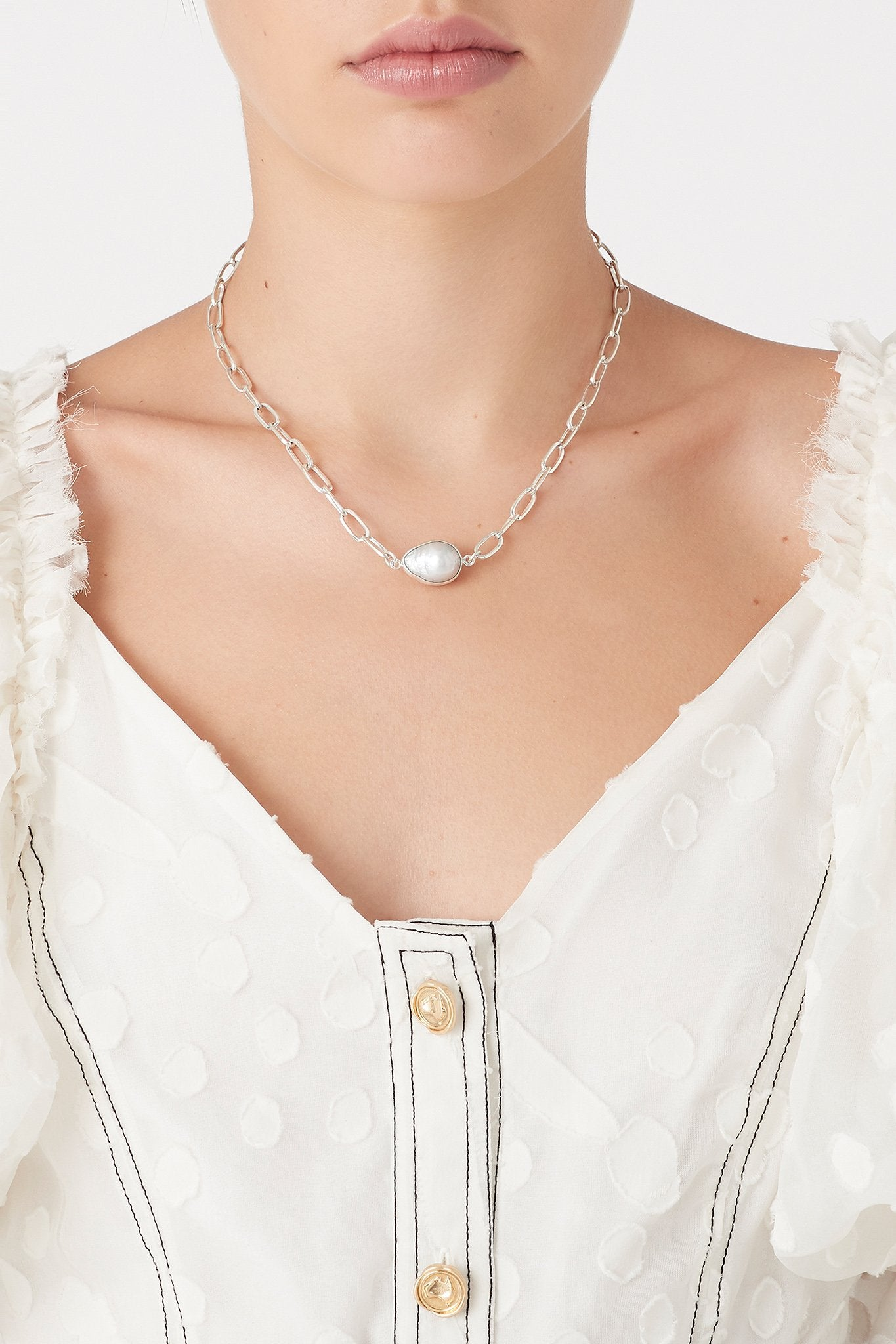 The Pearl and Fob Necklace Product View
