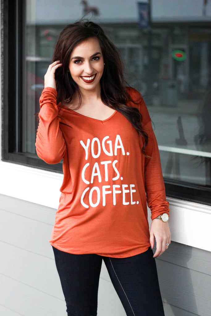 Yoga, Cats, Coffee Top: Rust
