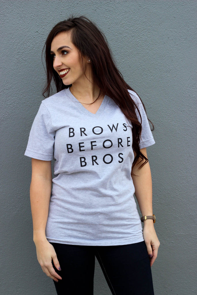 Brows Before Bros Tee: Grey
