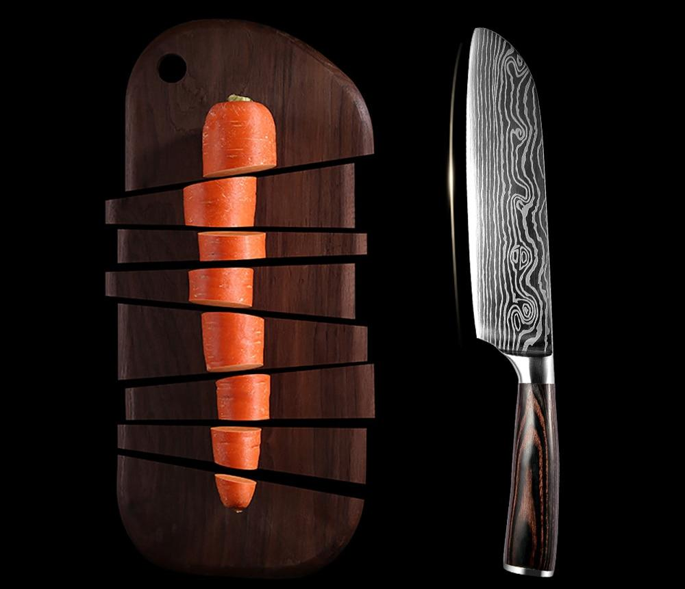 Wood Handle Damascus Veins Stainless Steel Knives Set