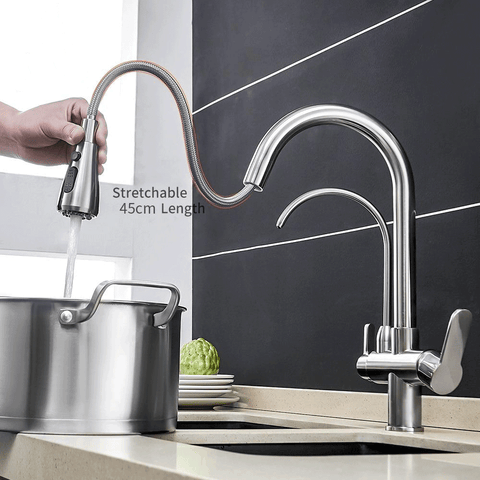 Pull Down Kitchen Faucet with Water Filter For Drinking