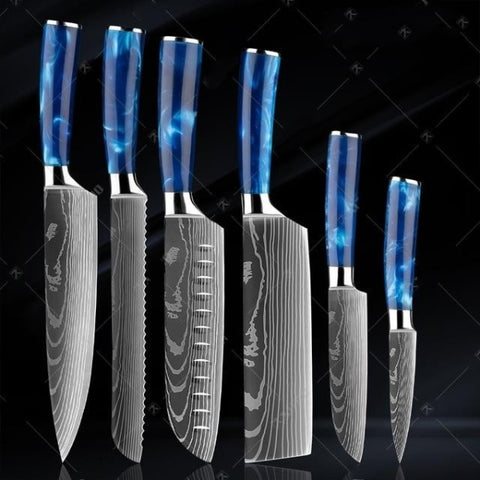 Blue Resin Handle Laser Damascus Pattern Knives Set