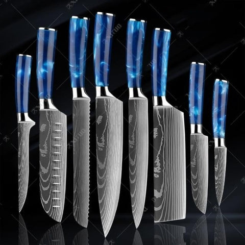 Image of Blue Resin Handle Laser Damascus Pattern Knives Set