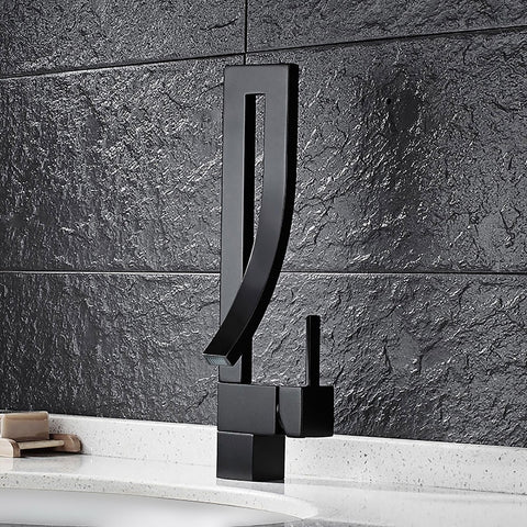Image of Black Kitchen Sink Faucet Kitchen Tap Waterfall Basin